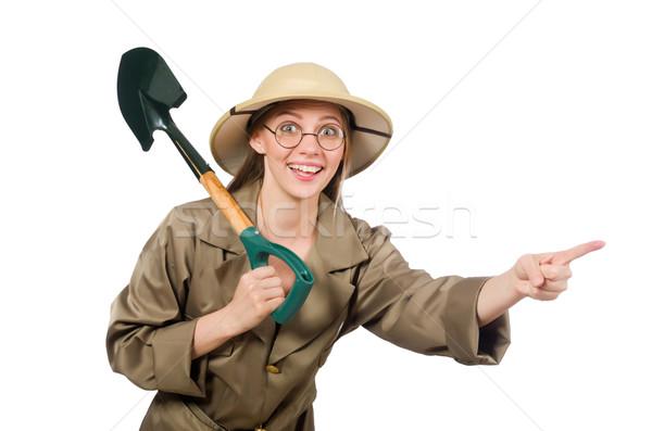 Woman wearing safari hat on white Stock photo © Elnur