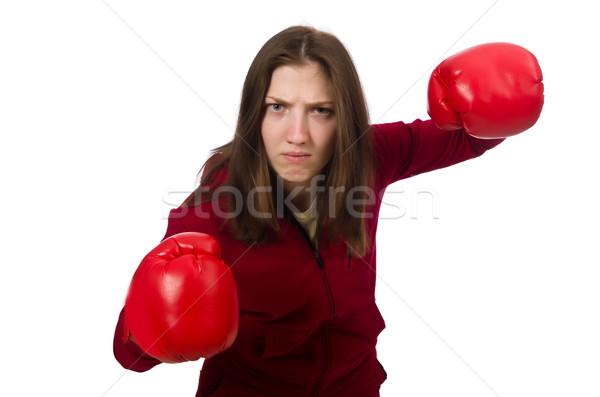 Donna boxer isolato bianco sorriso sport Foto d'archivio © Elnur