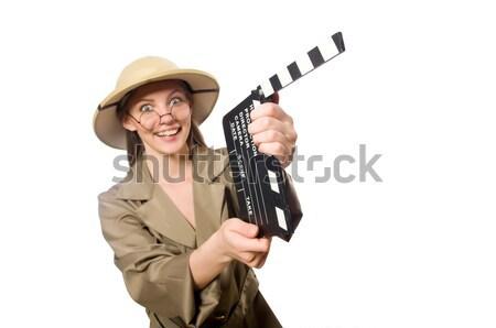 Mujer safari sombrero blanco hombre Foto stock © Elnur