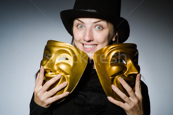 Kobieta maska funny twarz pracownika twarze Zdjęcia stock © Elnur