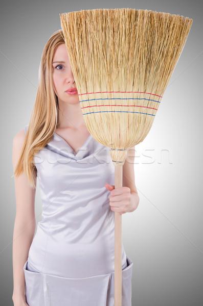 Jonge vrouw bezem witte werk home werknemer Stockfoto © Elnur