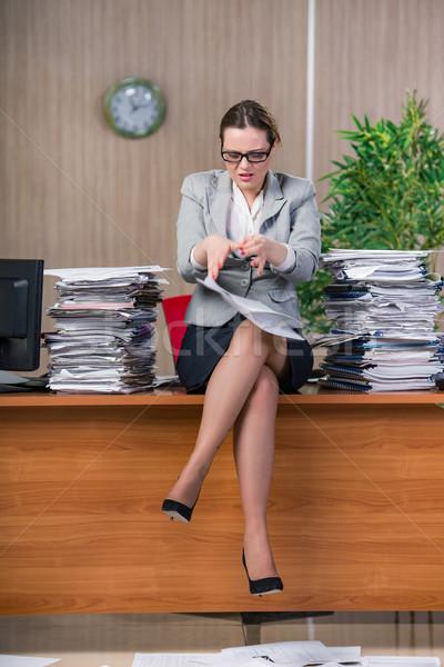 üzletasszony stressz dolgozik iroda nő munka Stock fotó © Elnur