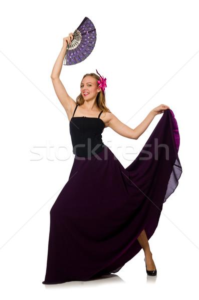 Mujer baile ventilador aislado blanco música Foto stock © Elnur