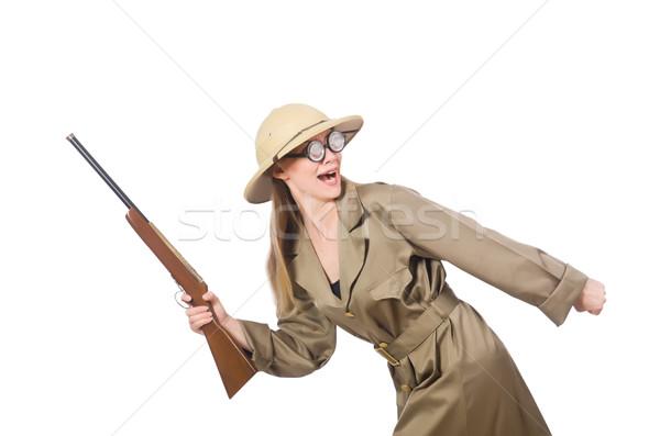 Mulher safári seis branco diversão Foto stock © Elnur