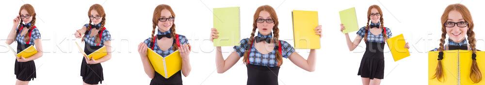 Młodych student odizolowany biały dziewczyna książek Zdjęcia stock © Elnur