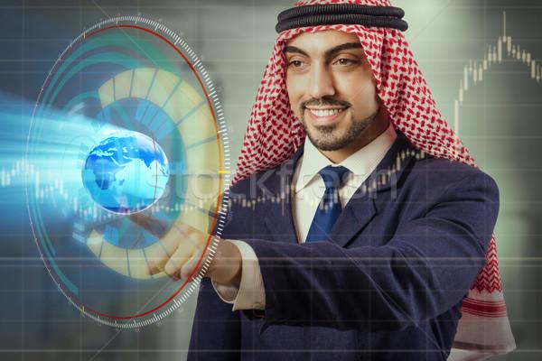 Arab üzletember globális üzlet férfi világ Föld Stock fotó © Elnur