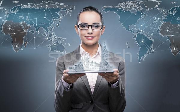 Foto stock: Virtual · realidad · viaje · mujer · tableta · ordenador
