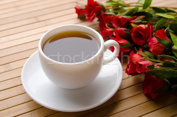 Taza té restauración flores hoja vidrio Foto stock © Elnur