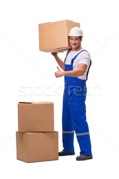 The man delivering box isolated on white Stock photo © Elnur