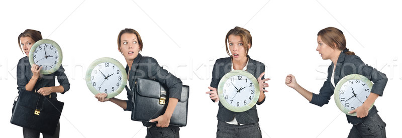 Businesswoman with clock isolated on white Stock photo © Elnur