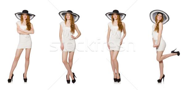 Fiatal nő divat nő tengerpart ruházat kalap Stock fotó © Elnur