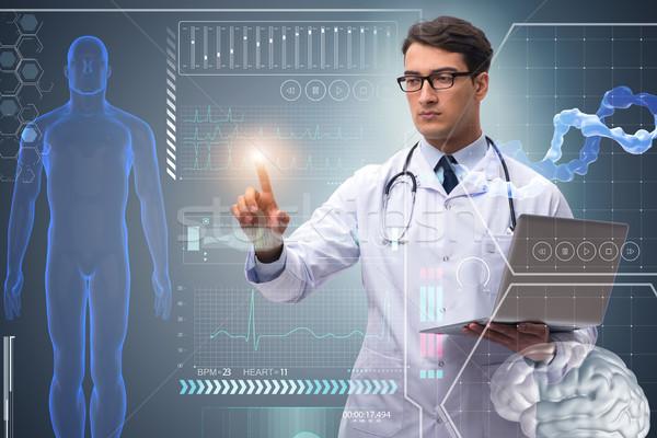 Orvos futurisztikus orvosi kisajtolás gomb számítógép Stock fotó © Elnur