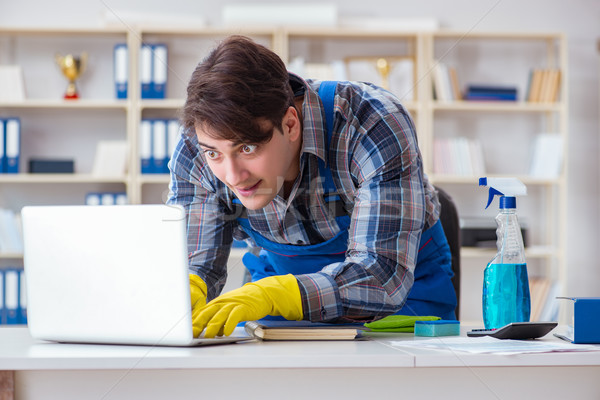 Hacker under cleaner cover stealing personal data Stock photo © Elnur
