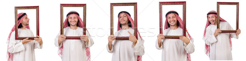 Stock photo: Arab with picture frame on white