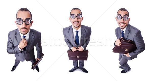 Сток-фото: смешные · NERD · бизнесмен · изолированный · белый · фон