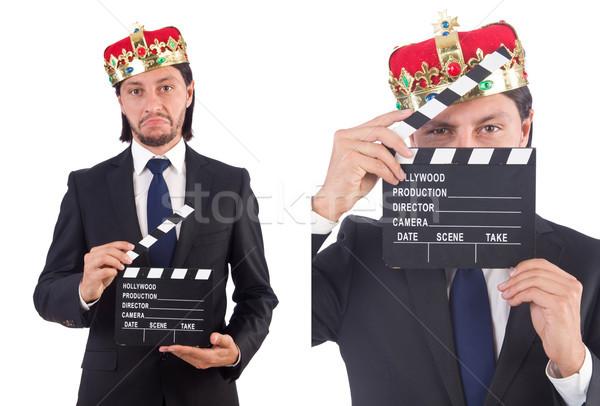 Király üzletember vicces izolált fehér férfi Stock fotó © Elnur