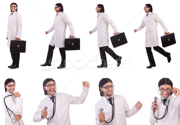 Młodych mężczyzna lekarz odizolowany biały szpitala muzyka Zdjęcia stock © Elnur