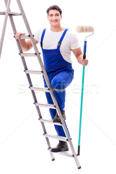 Young painter man with ladder isolated on white background Stock photo © Elnur