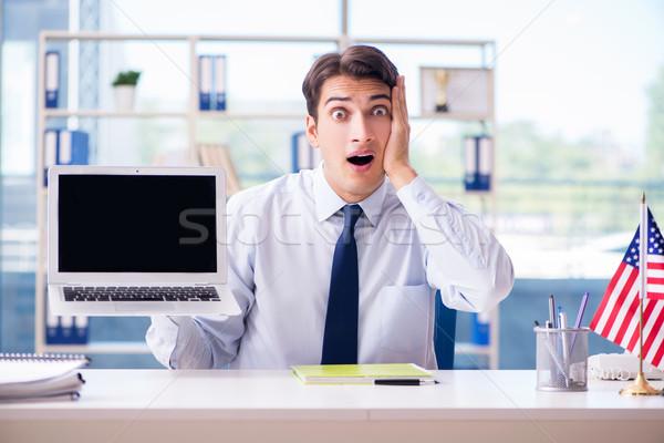 продажи агент рабочих бюро путешествий компьютер счастливым Сток-фото © Elnur