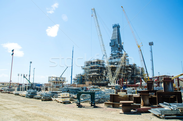Offshore drilling during construction onshore Stock photo © Elnur