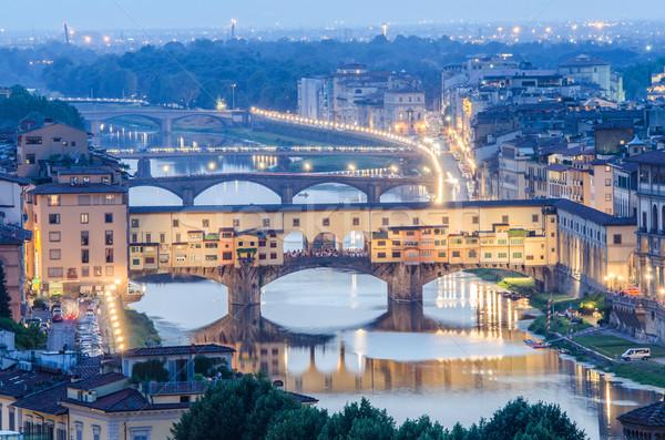Ponte Vecchio in evening hours Stock photo © Elnur