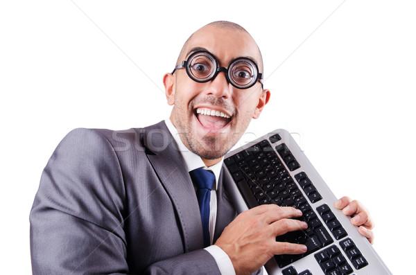Nerd businessman with computer keyboard on white Stock photo © Elnur