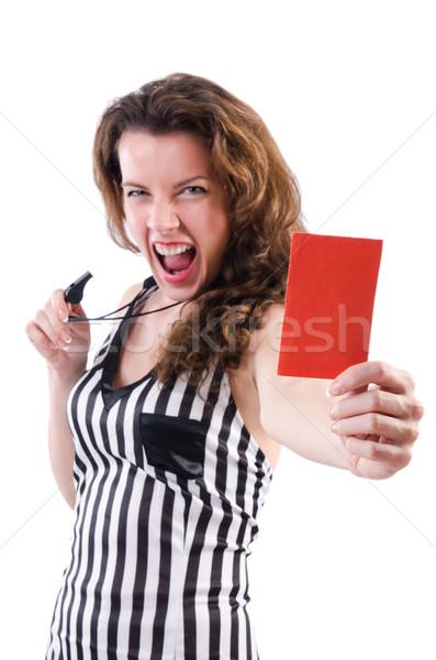 ストックフォト: 女性 · 裁判官 · 孤立した · 白 · 手 · スポーツ