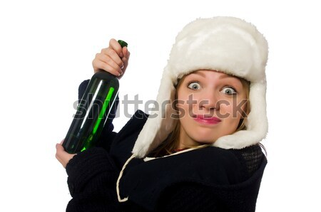 Nun with bottle of red wine Stock photo © Elnur