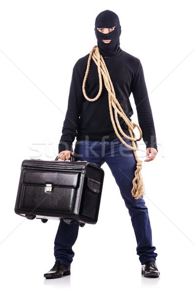 Burglar wearing balaclava isolated on white Stock photo © Elnur