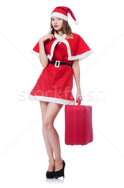Young woman in red santa costume with suitcase Stock photo © Elnur