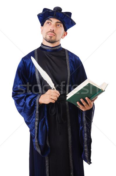Isolé judicieux écrit plumes lecture blanche Photo stock © Elnur