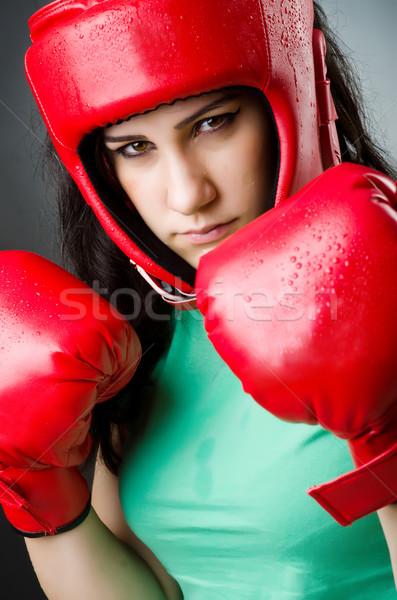 Kadın boksör beyaz spor uygunluk sağlık Stok fotoğraf © Elnur