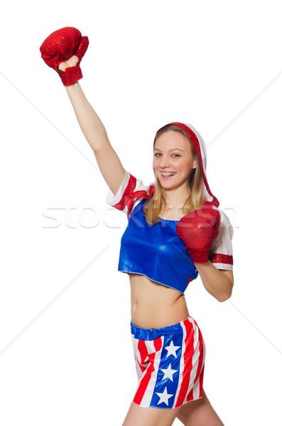 Stockfoto: Vrouwelijke · bokser · geïsoleerd · witte · vrouw · sport