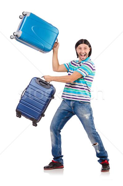 Stock fotó: Utazás · vakáció · csomagok · fehér · boldog · háttér