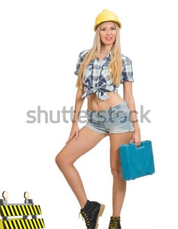 Fiatal lány Panama kézitáska divat fogalmak izolált Stock fotó © Elnur