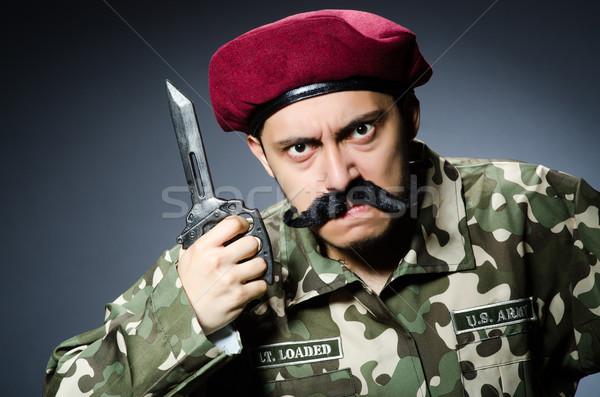 Komik asker karanlık adam yeşil savaş Stok fotoğraf © Elnur