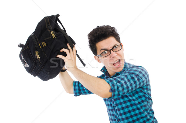 Man with backpack isolated on white Stock photo © Elnur