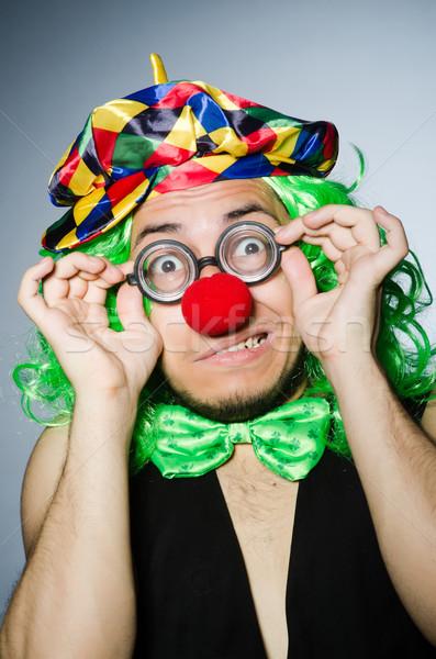 Stockfoto: Grappig · clown · donkere · glimlach · gezicht · bril
