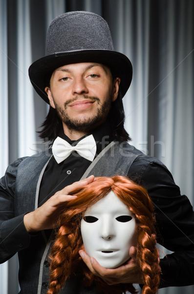 Vicces színpadi maszk férfi haj háttér Stock fotó © Elnur