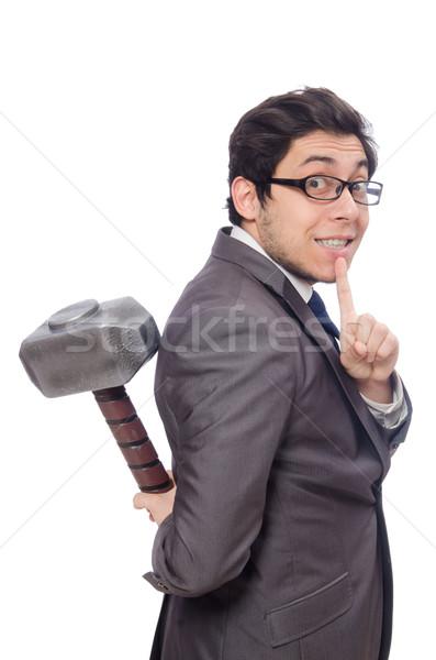 Business man holding hammer isolated on white Stock photo © Elnur