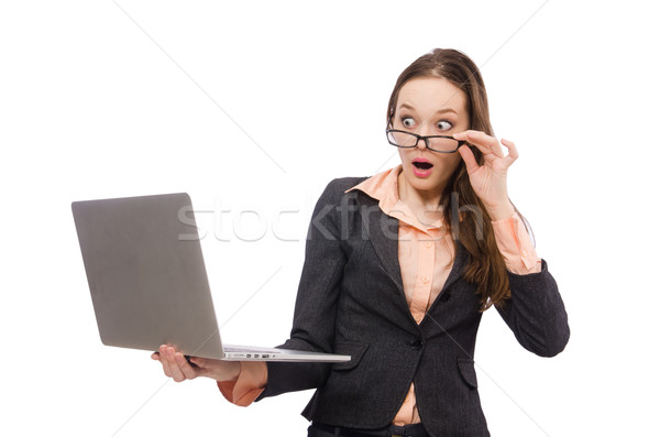 Working lady with laptop isolated on white Stock photo © Elnur