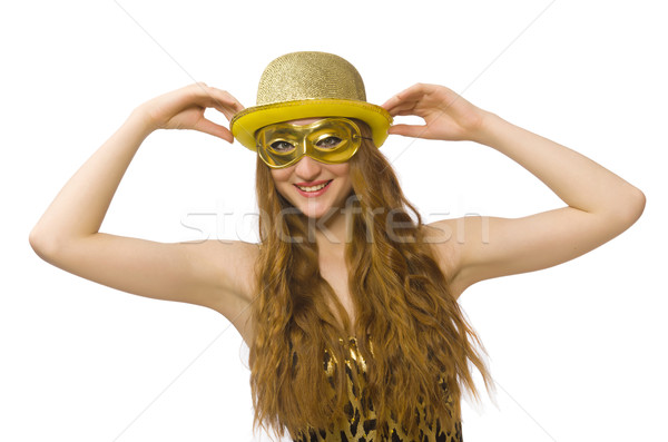 Girl in golden mask isolated on white Stock photo © Elnur
