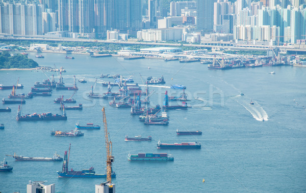 Busy Hong Kong port with many ships Stock photo © Elnur