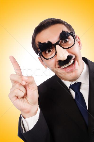 Vicces üzletember szemöldök bajusz üzlet iroda Stock fotó © Elnur