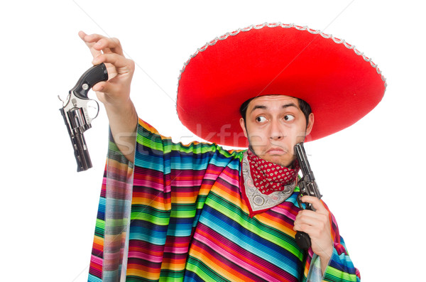 Funny mexican with weapon isolated on white Stock photo © Elnur
