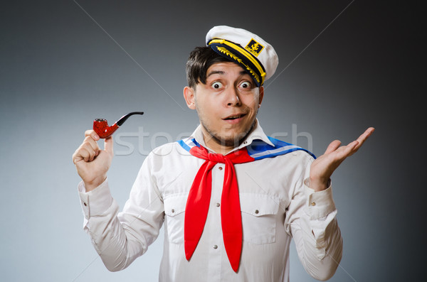 Funny captain sailor wearing hat Stock photo © Elnur