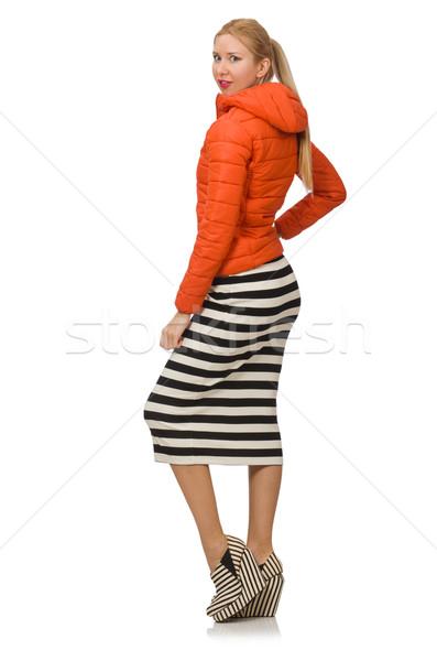 Jonge vrouw lang gestreept jurk geïsoleerd witte Stockfoto © Elnur