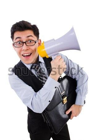 Stock photo: Angry businesswoman with axe on white
