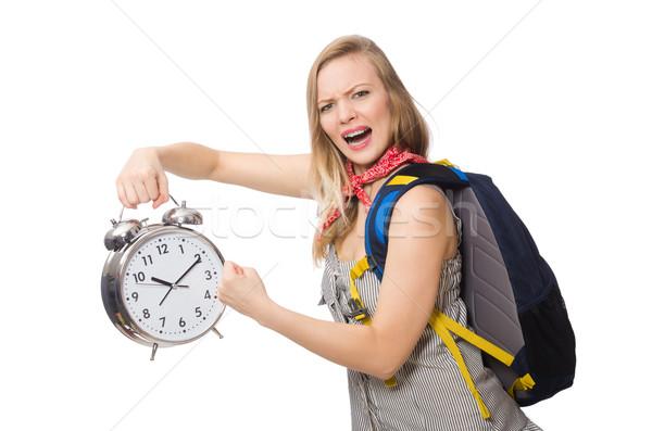 Kobieta student brakujący terminy odizolowany biały Zdjęcia stock © Elnur
