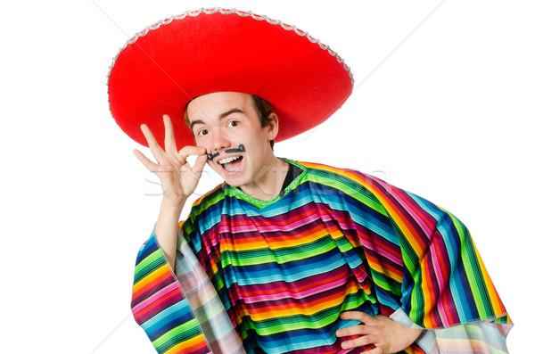 Funny jóvenes mexicano falso bigote aislado Foto stock © Elnur